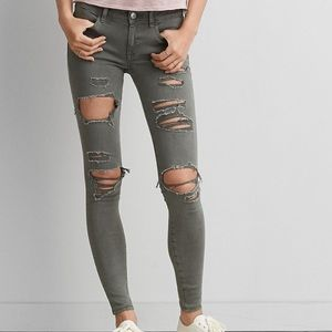 Army Green Distressed Jeggings